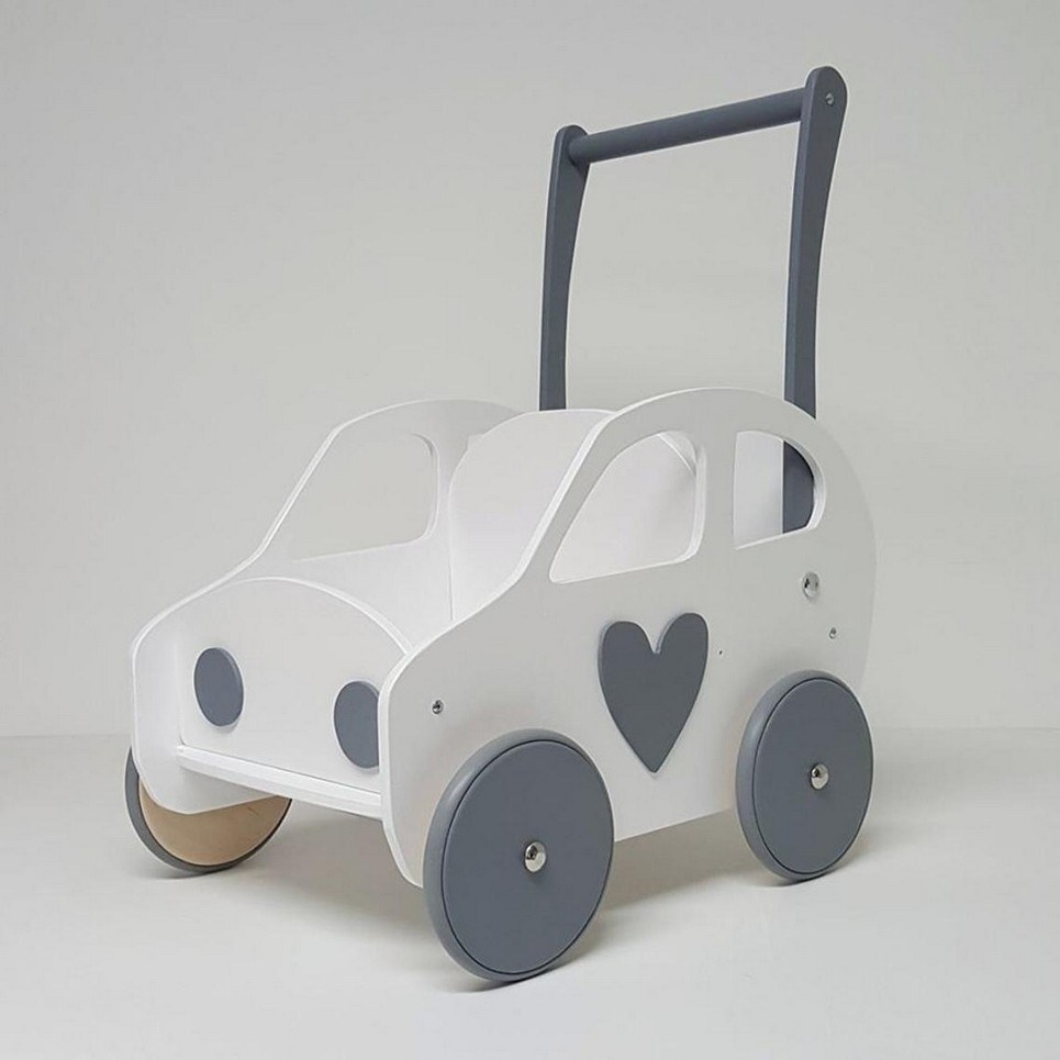 White and Grey Heart Personalised Wooden Baby Walker