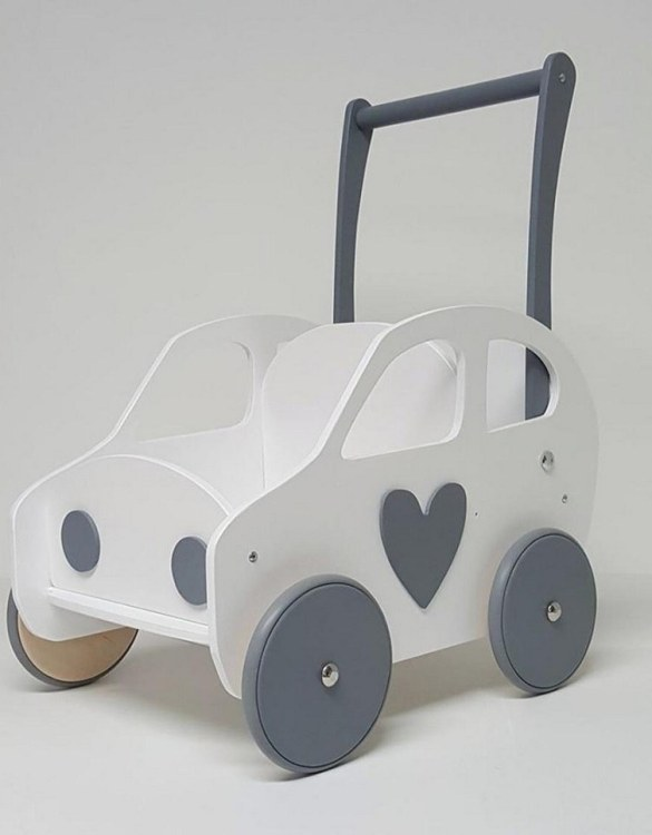 Colourful, fun and educational, the White and Grey Heart Personalised Wooden Baby Walker will satisfy the most demanding children. This will fulfill their innermost dreams. A personalized wooden walker in the shape of a car for children. Thanks to it, the child will learn to walk and will have fun at the same time.