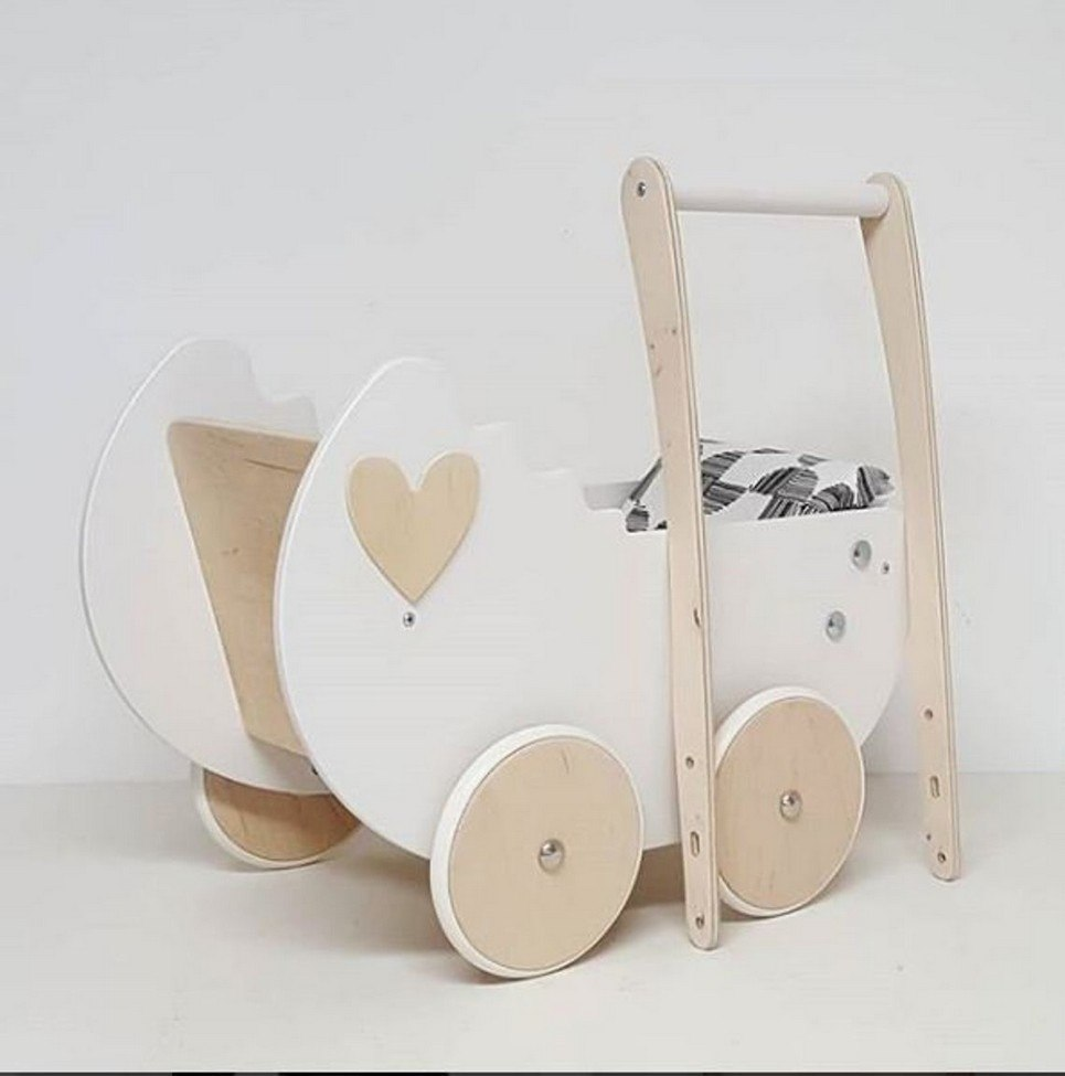 White and Wood Heart Personalised Wooden Doll Pram