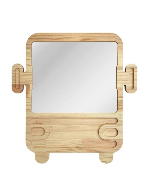 A modern design that will please you and your little one, the Big Solid Pinewood Mirror Autobus fits perfectly in the nursery or kids' room. Safe and unbreakable acrylic mirror made of high-quality solid pinewood.