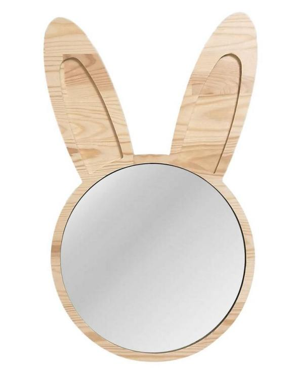 A modern design that will please you and your little one, the Big Solid Pinewood Mirror Bunny fits perfectly in the nursery or kids' room. Safe and unbreakable acrylic mirror made of high-quality solid pinewood.