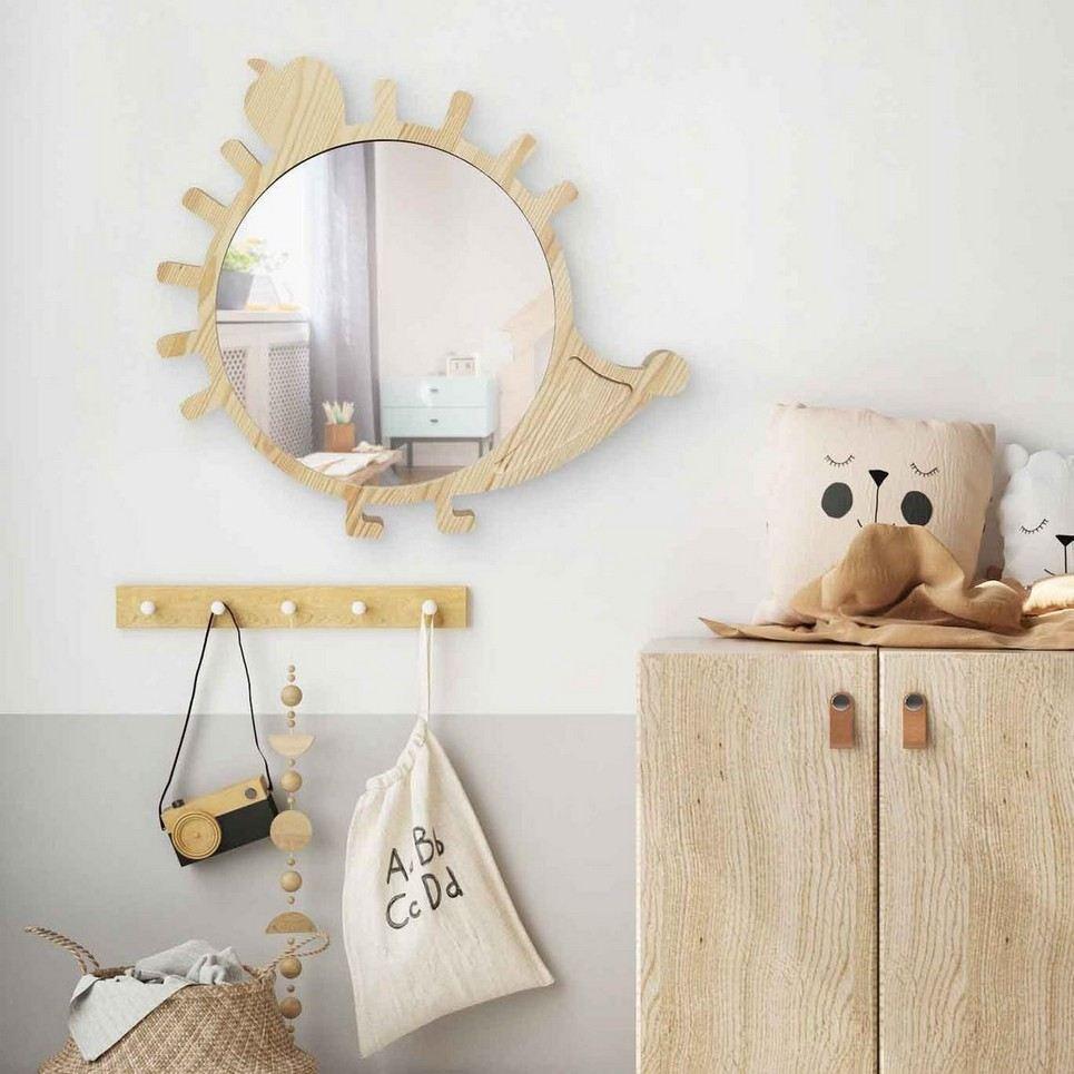 Big Solid Pinewood Mirror Hedgehog