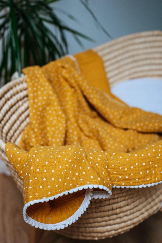Ocher Polka Dot Pompon Blanket