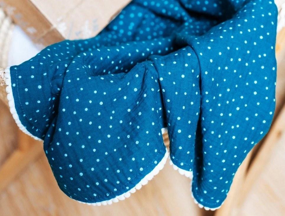 Petrol Polka Dot Pompon Blanket