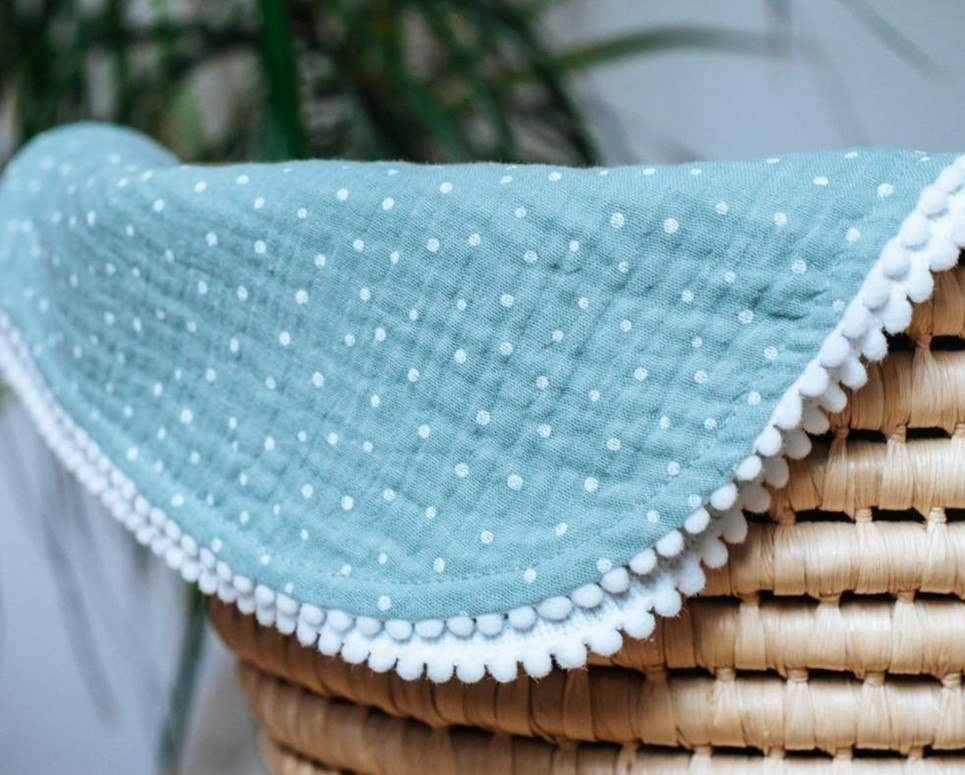 Sea Green Polka Dot Pompon Blanket