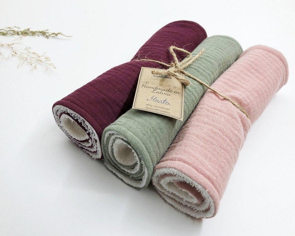 Set of 3 Color Mix Burp Rags