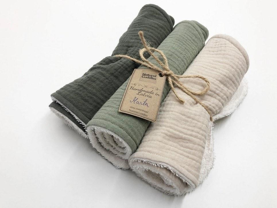 Set of 3 Green Burp Rags