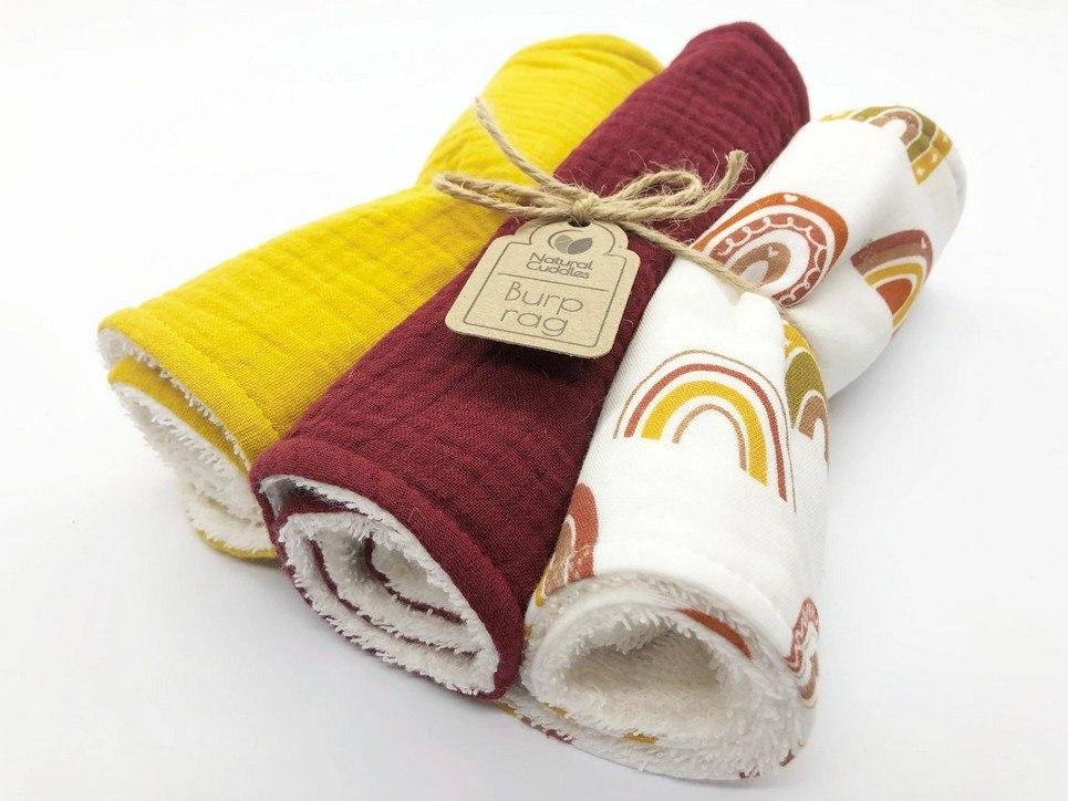 Set of 3 Rainbow Burp Rags