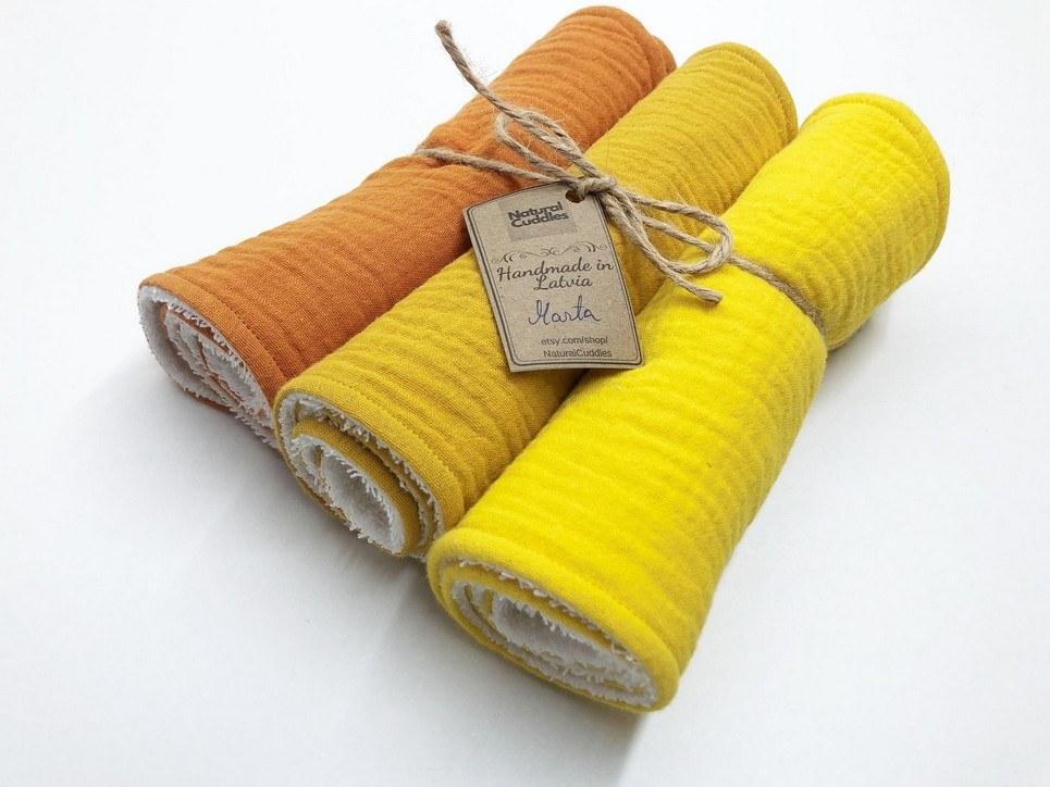 Set of 3 Yellow Burp Rags