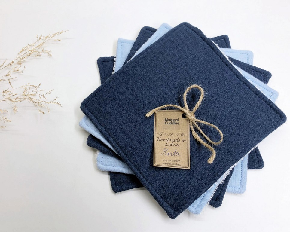 Set of 5 Blue Reusable Baby Wipes
