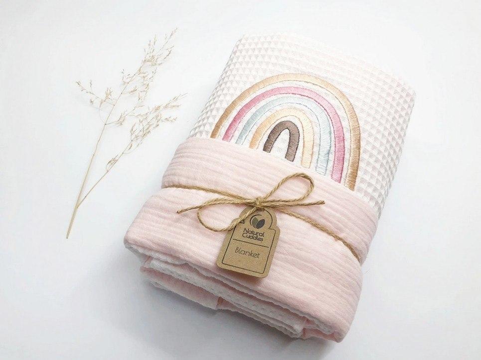 White – Pink Rainbow Waffle Blanket