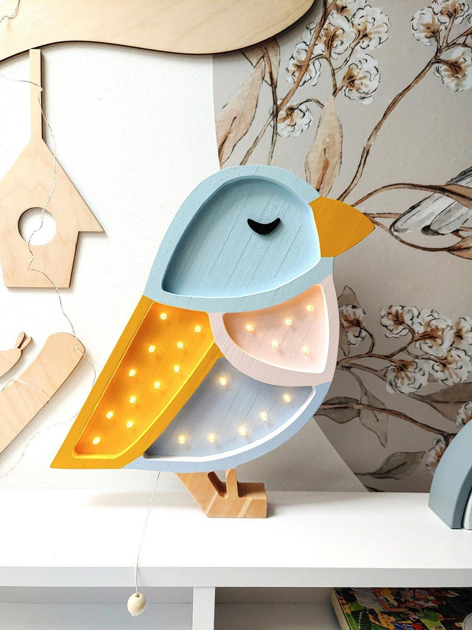 Wooden Sparrow Lamp