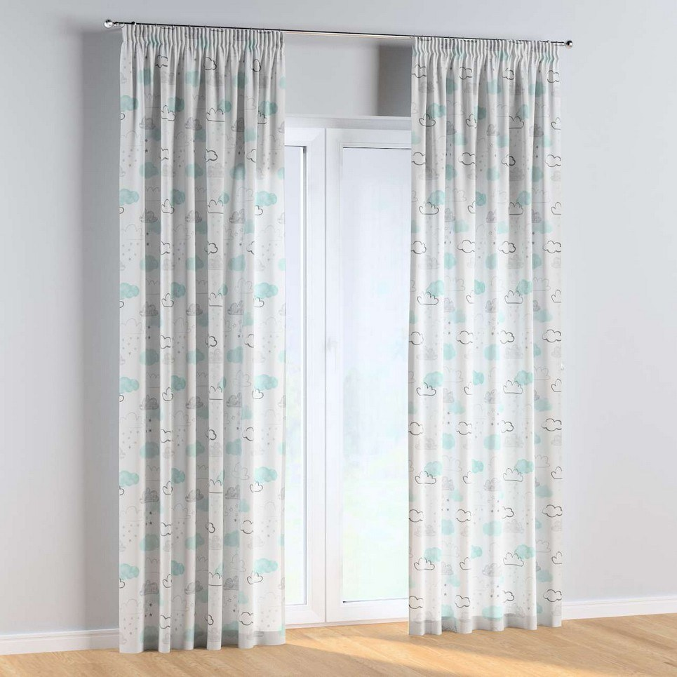 Clouds and Stars Pencil Pleat Kids Curtains
