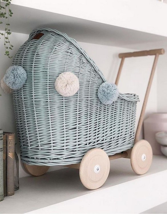 "Gorgeous wicker stroller for a doll, the Dirty Mint Low Wicker Doll Pram will be a favourite toy in no time. Such stroller is a great fun for every little ""mom"" and at the same time a 100% stylish, ecological and Polish toy."