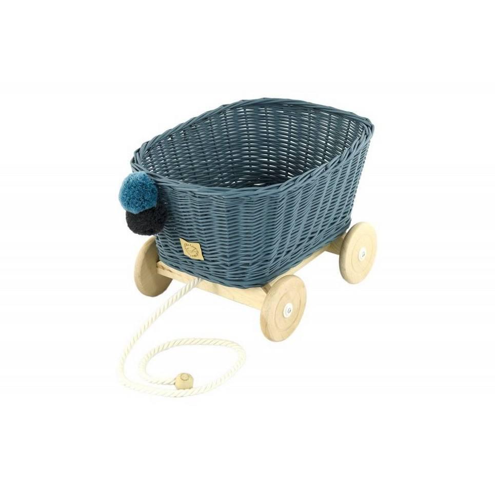 Dusty Blue Wicker Pull Cart