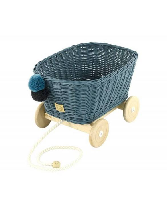 A healthy alternative to other toys, the Dusty Blue Wicker Pull Cart is an artistic handicraft with perfectly selected details. The wicker stroller will not only be a great toy, but also an extraordinary decoration for a child's room.