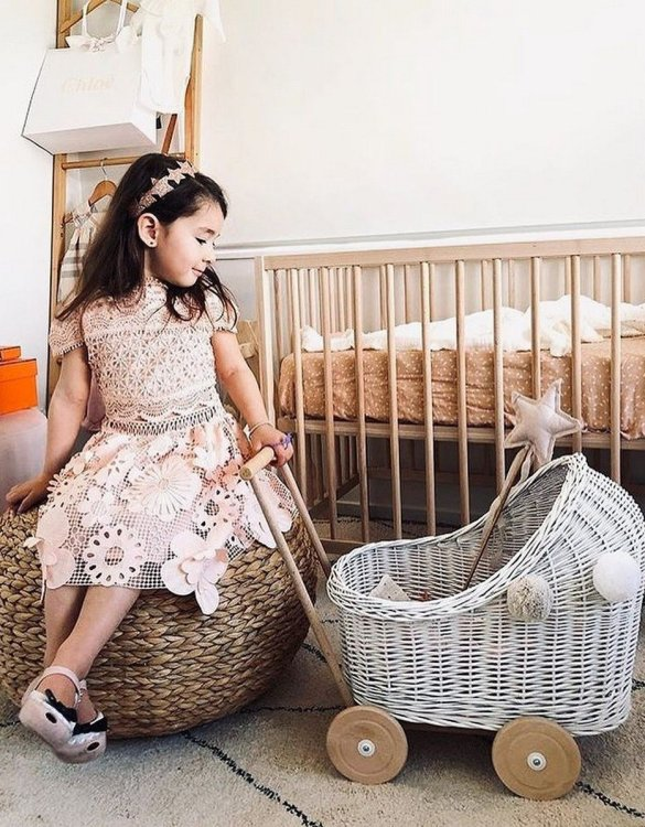 "Gorgeous wicker stroller for a doll, the Gray Low Wicker Doll Pram will be a favourite toy in no time. Such stroller is a great fun for every little ""mom"" and at the same time a 100% stylish, ecological and Polish toy."