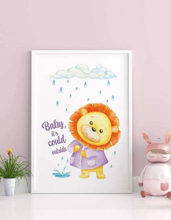 Perfect for a birthday or Christmas present, the Little Lion Decorative Children Illustration is a really unique and eyecatching print that is loved by kids and adults. This print would make an ideal new baby gift or a very sweet birthday present for a baby or toddler.