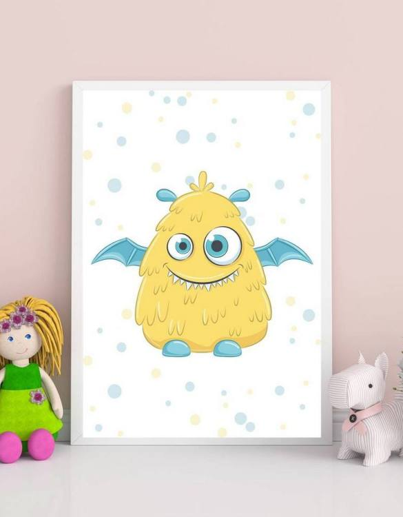 Perfect for a birthday or Christmas present, the Little Monster Decorative Children Illustration is a really unique and eyecatching print that is loved by kids and adults. This print would make an ideal new baby gift or a very sweet birthday present for a baby or toddler.