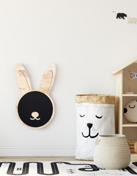 Spark artistic play with the Magnetic Bunny Kids Chalkboard. Just the right height for growing artists, this children's chalkboard encourages creativity and allows little ones to develop their fine motor skills through painting, drawing, coloring, and writing.