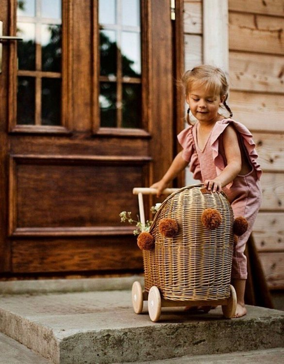 "Gorgeous wicker stroller for a doll, the Old Gold Low Wicker Doll Pram will be a favourite toy in no time. Such stroller is a great fun for every little ""mom"" and at the same time a 100% stylish, ecological and Polish toy."
