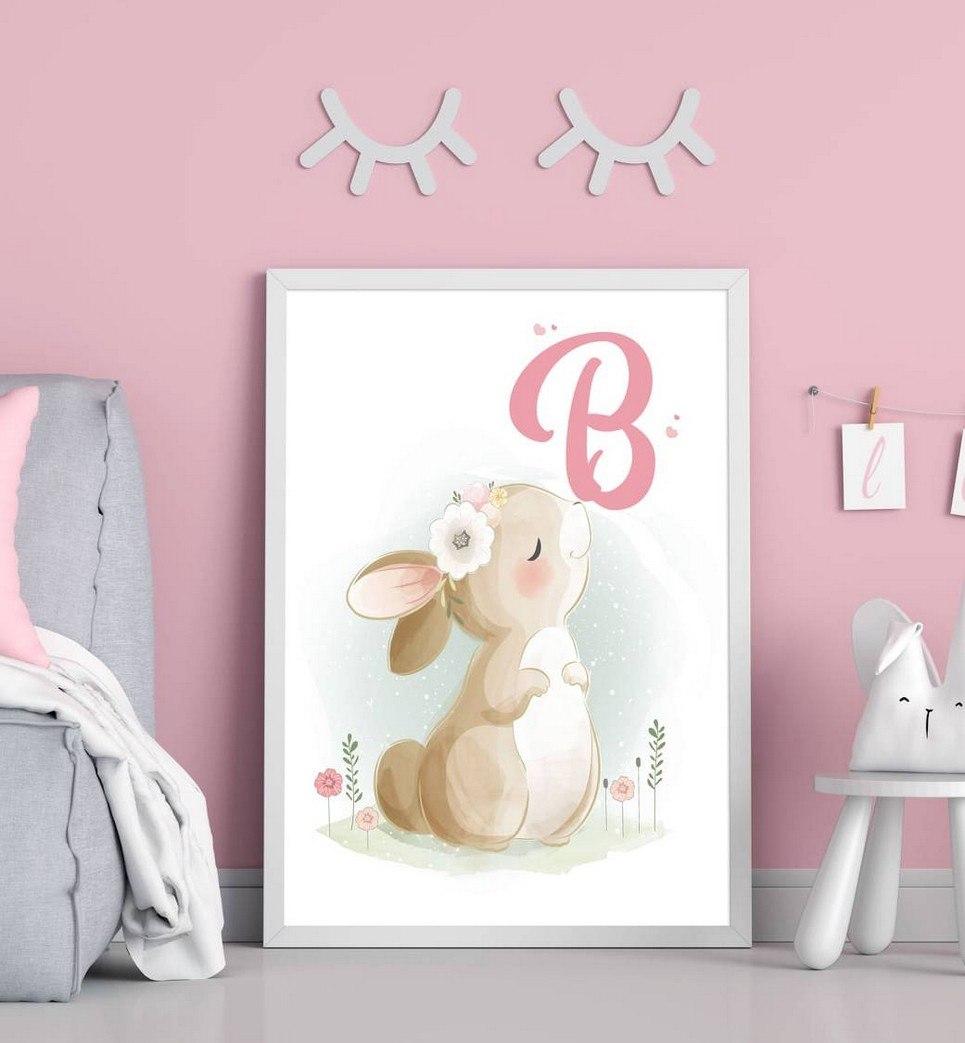 Personalised Initial Bunny Children Illustration