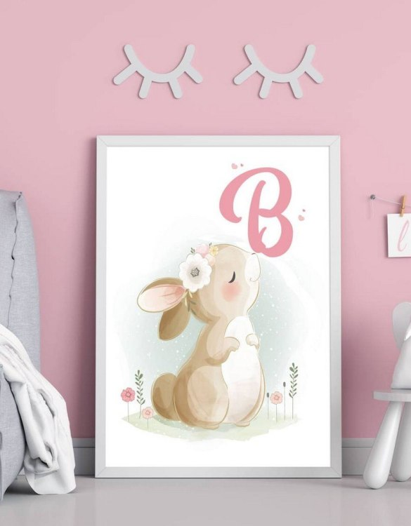 Perfect for a birthday or Christmas present, the Personalised Initial Bunny Children Illustration is a really unique and eyecatching print that is loved by kids and adults. This print would make an ideal new baby gift or a very sweet birthday present for a baby or toddler.