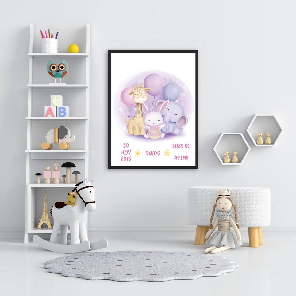 Personalised Name Animals Baby Birth Print