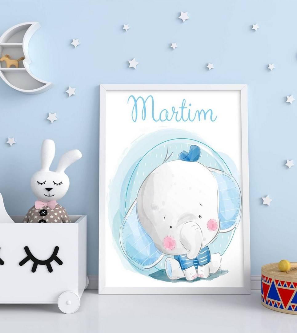 Personalised Name Elephant Children Illustration