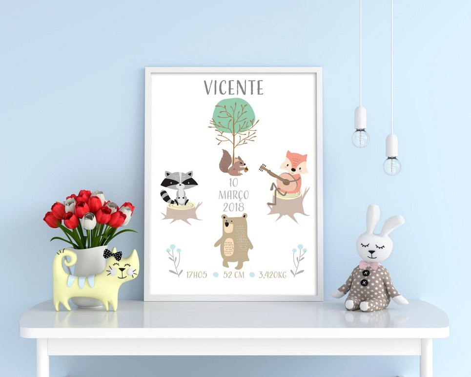 Personalised Name Forest Baby Birth Print