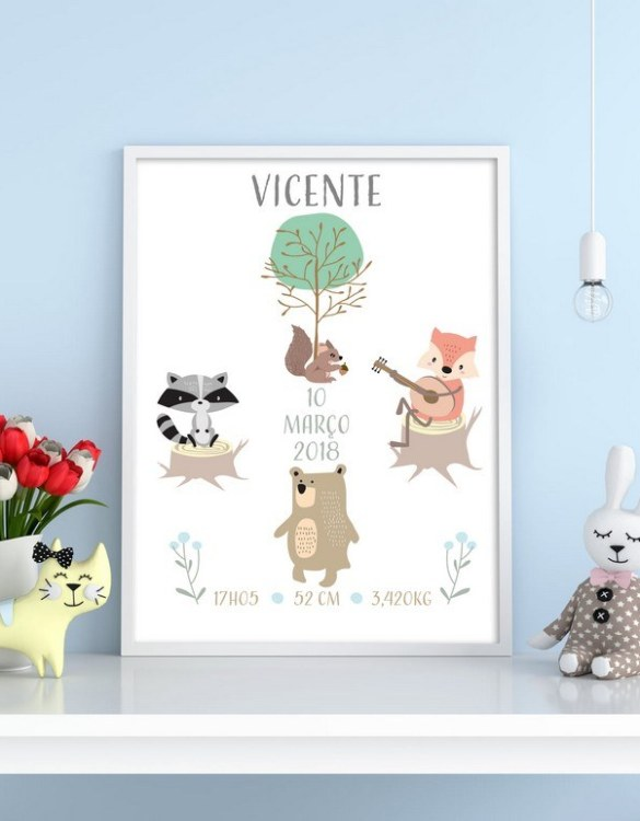 A wonderful momento of a child's birth, the Personalised Name Forest Baby Birth Print is a beautiful nursery print with a newborn's birth statistics. This bright and fun personalised birth print will make a lovely addition to any nursery or bedroom wall.
