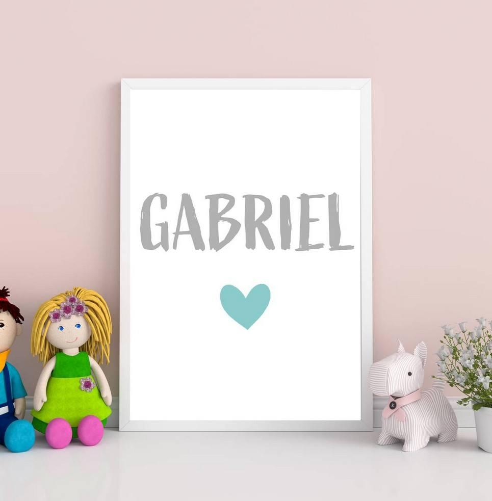 Personalised Name Heart Children Illustration