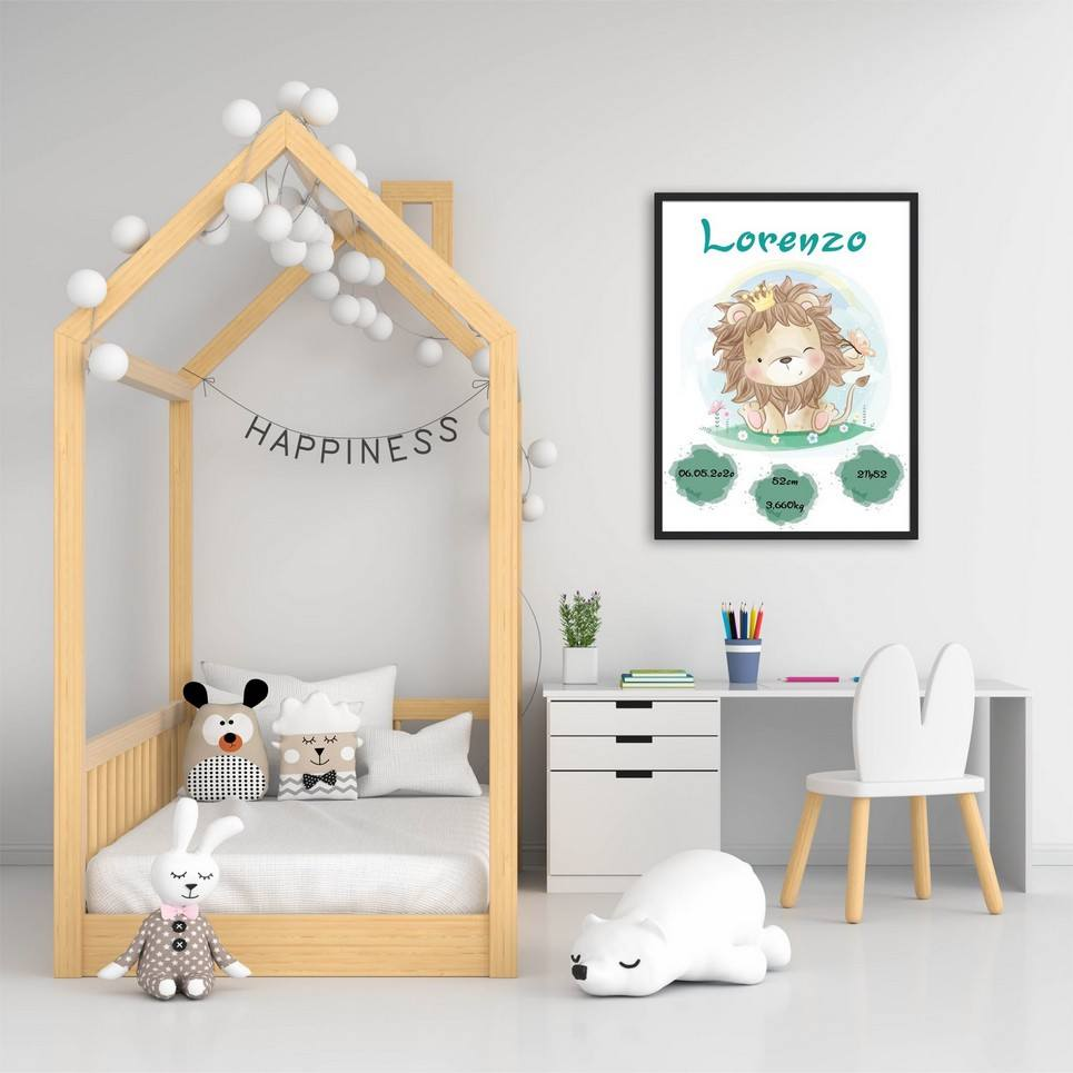 Personalised Name Lion Baby Birth Print