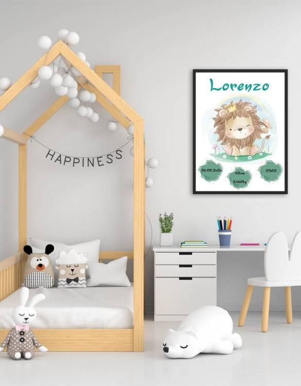 A wonderful momento of a child's birth, the Personalised Name Lion Baby Birth Print is a beautiful nursery print with a newborn's birth statistics. This bright and fun personalised birth print will make a lovely addition to any nursery or bedroom wall.