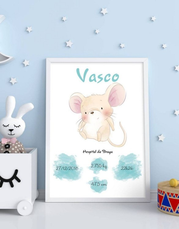 A wonderful momento of a child's birth, the Personalised Name Mouse Baby Birth Print is a beautiful nursery print with a newborn's birth statistics. This bright and fun personalised birth print will make a lovely addition to any nursery or bedroom wall.