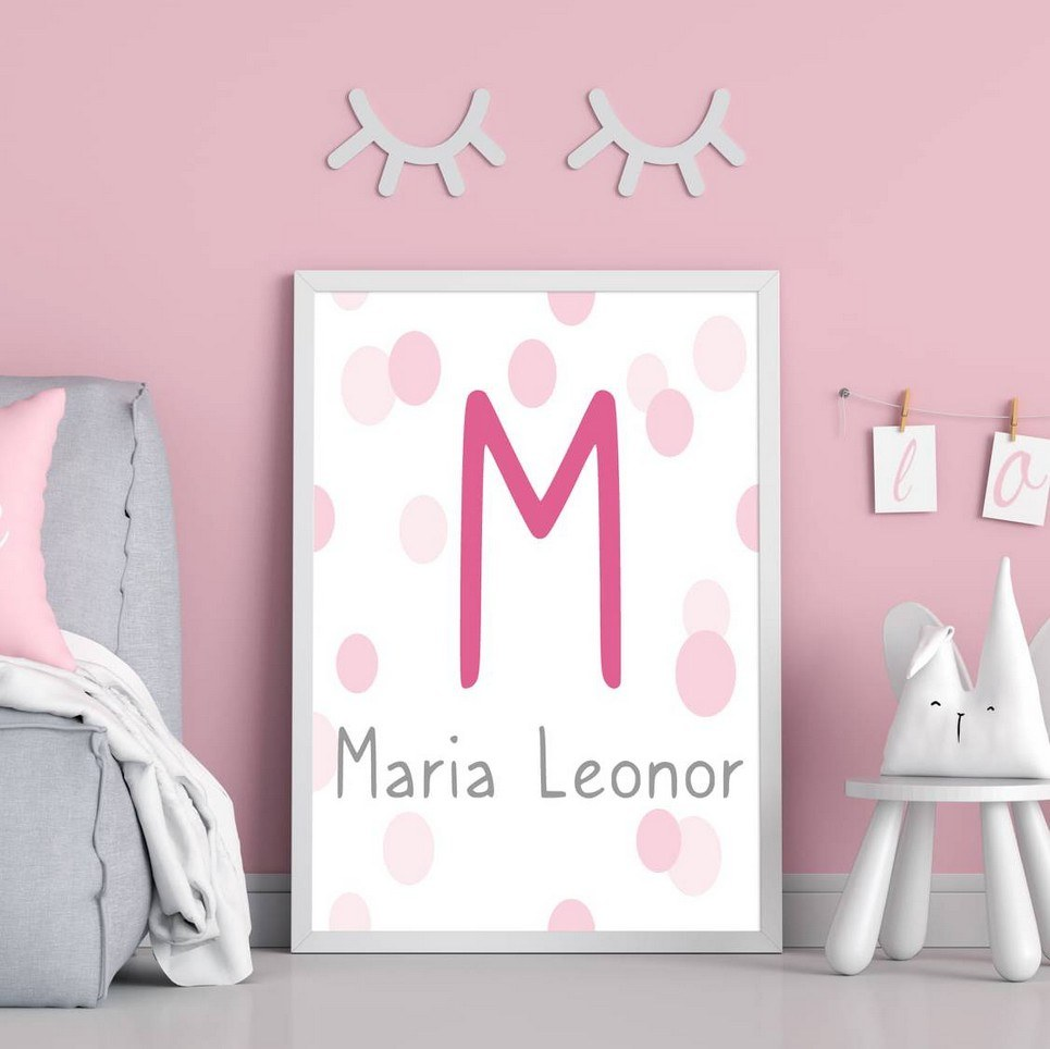 Personalised Name Pink Initial Children Illustration