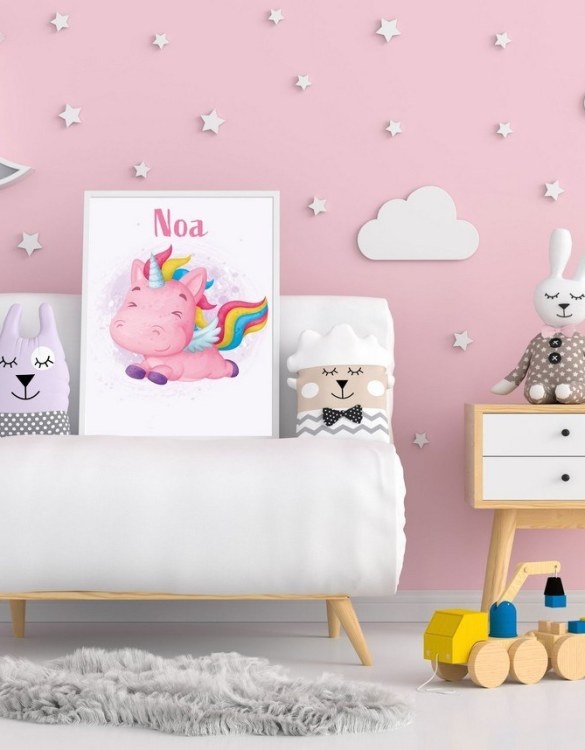 Perfect for a birthday or Christmas present, the Personalised Name Unicorn Children Illustration is a really unique and eyecatching print that is loved by kids and adults. This print would make an ideal new baby gift or a very sweet birthday present for a baby or toddler.
