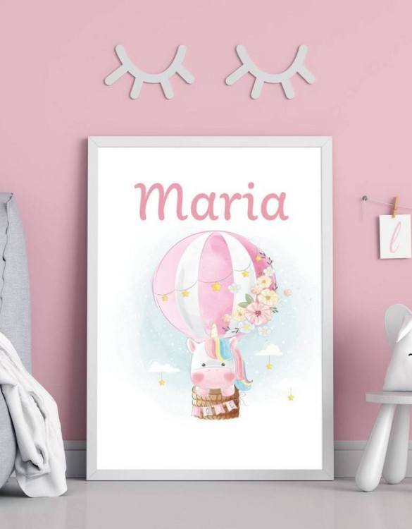 Perfect for a birthday or Christmas present, the Personalised Name Unicorn and Hot Balloon Children Illustration is a really unique and eyecatching print that is loved by kids and adults. This print would make an ideal new baby gift or a very sweet birthday present for a baby or toddler.