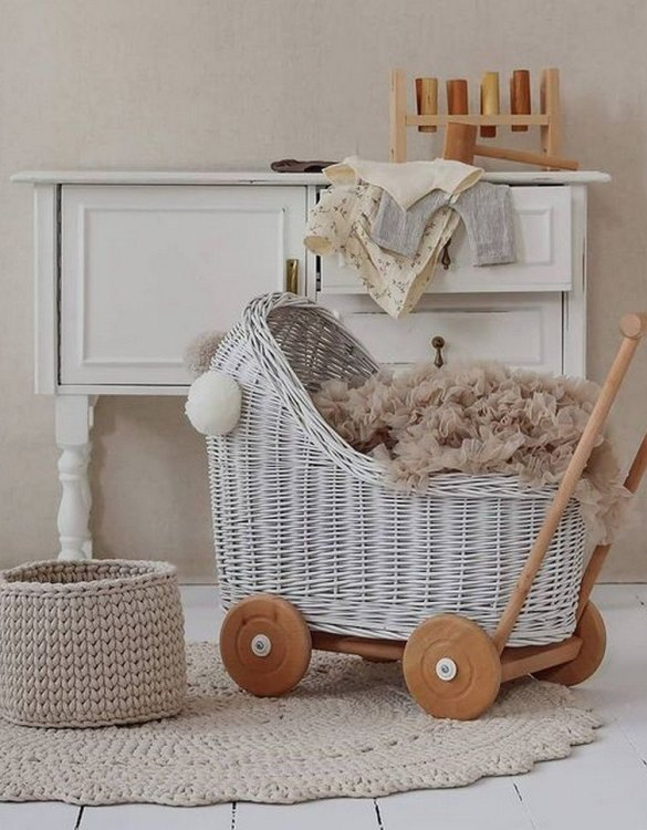 "Gorgeous wicker stroller for a doll, the White Low Wicker Doll Pram will be a favourite toy in no time. Such stroller is a great fun for every little ""mom"" and at the same time a 100% stylish, ecological and Polish toy."