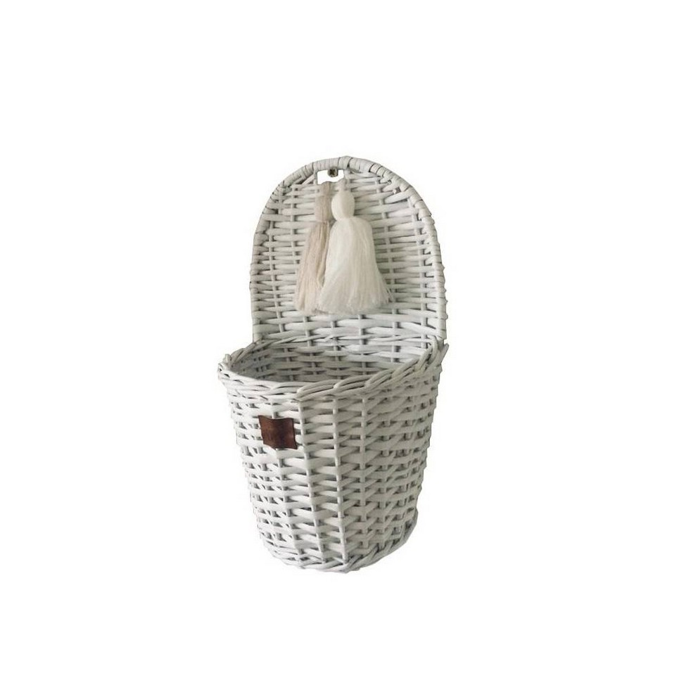 White Lu Wicker Wall Basket