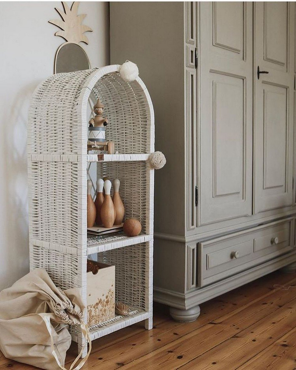 White Maalum Slim Wicker Bookshelf