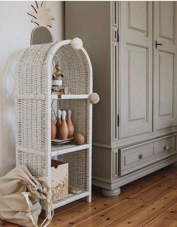 Completely handmade, with the greatest attention to detail, the White Maalum Slim Wicker Bookshelf is perfect for decorating your nursery, toddlers' or teenagers' room. This gorgeous wicker bookcase is a beautiful spot for displaying all kinds of treasures!