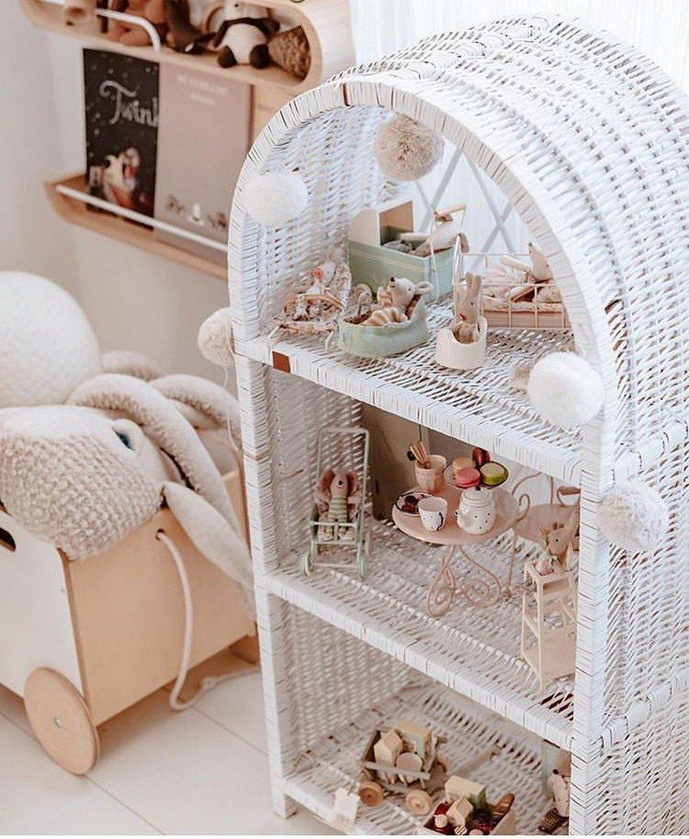 White Maalum Wicker Bookshelf