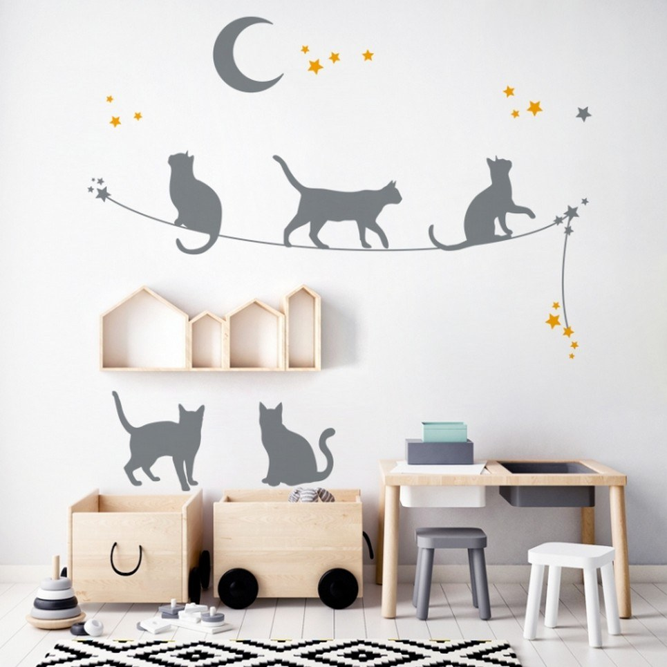 Cats On The Rope Children's Wall Sticker