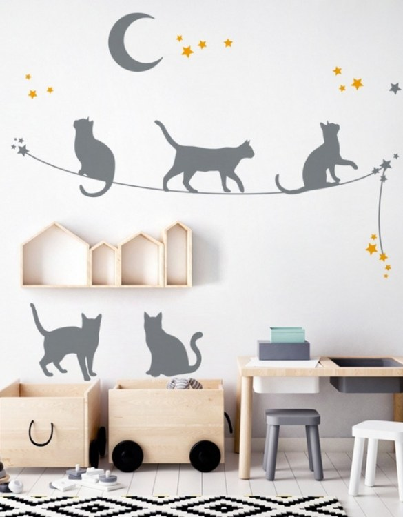 A beautiful scene for children's rooms and nurseries, the Cats On The Rope Children's Wall Sticker is the perfect addition to any empty space (like walls or furniture). These wall stickers provide a flexible and cost-effective way to decorate your home.