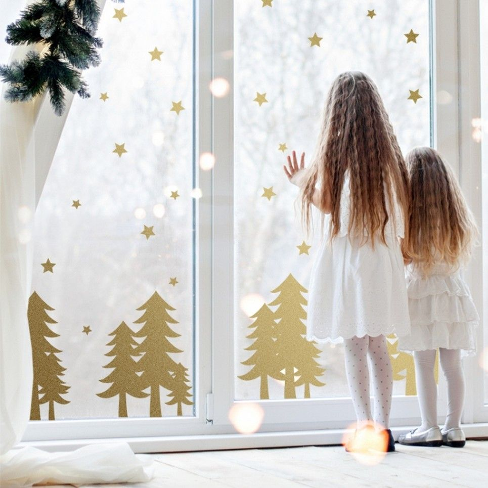 Christmas Trees and Stars Children's Wall Sticker