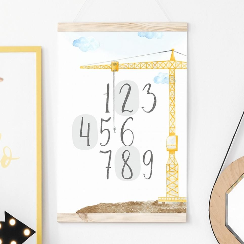 Construction Numbers Children's Poster