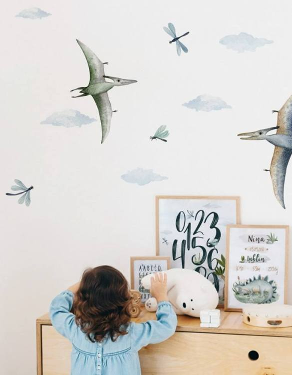 A beautiful scene for children's rooms and nurseries, the Dinosaurs Children's Wall Sticker is the perfect addition to any empty space (like walls or furniture). Time to travel back to the time when dinosaurs ruled the Earth!