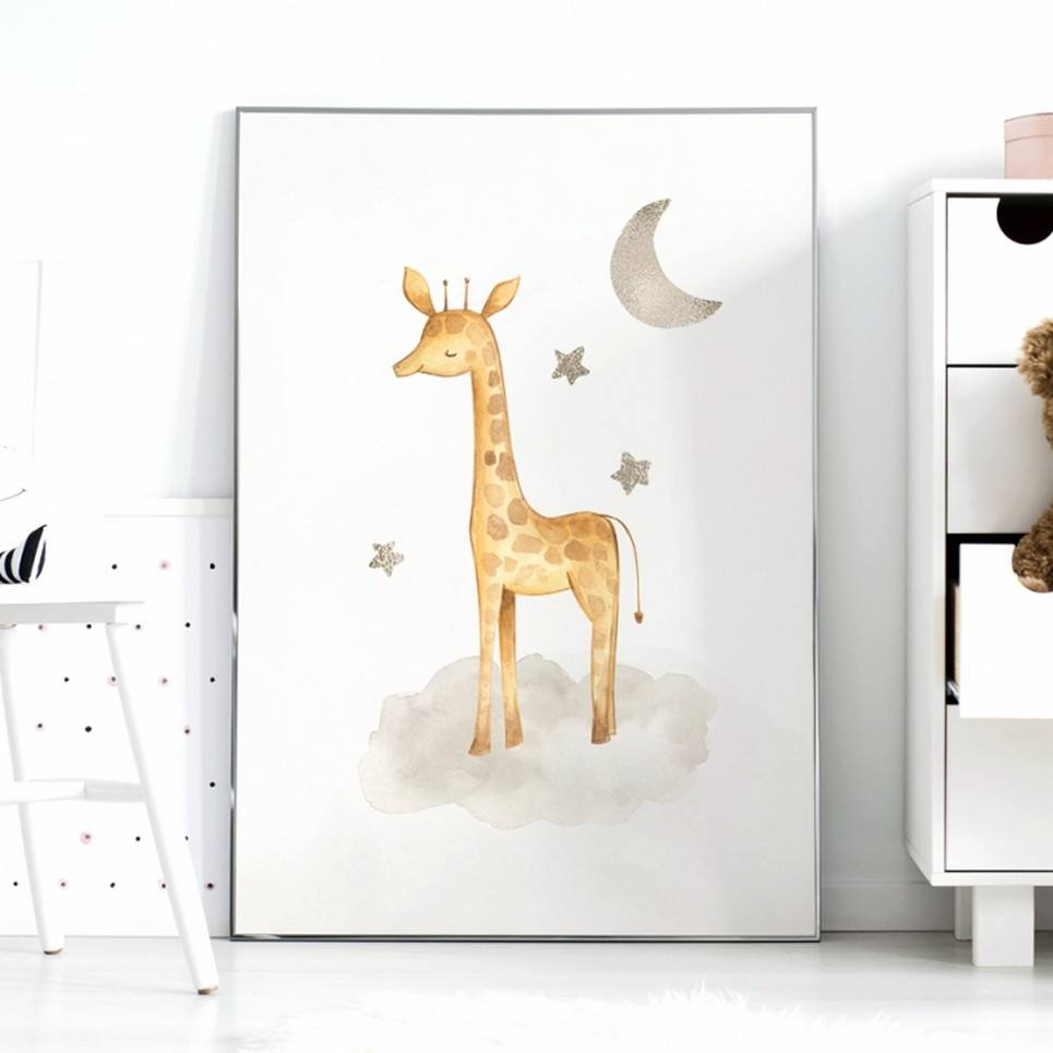 Giraffe and Stars Children's Poster