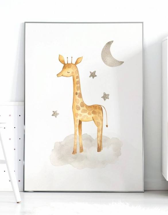 A unique keepsake that will create enchanting memories, the Giraffe and Stars Children's Poster is a really unique and eyecatching print that is loved by kids and adults. Encourage their wild side with this fun print. Designed in a playful font, they will make a great addition to any nursery, child's room, or playroom.